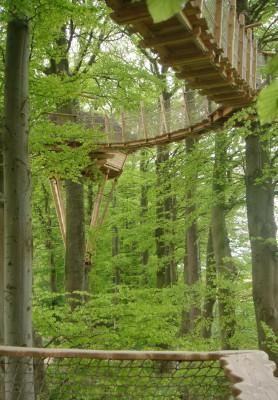 L'accès de cette cabane de couple se fait par une succession de passerelles souples appelées «pont de singe» qui zigzaguent entre les talus du clos masure sur une vingtaine de mètres.